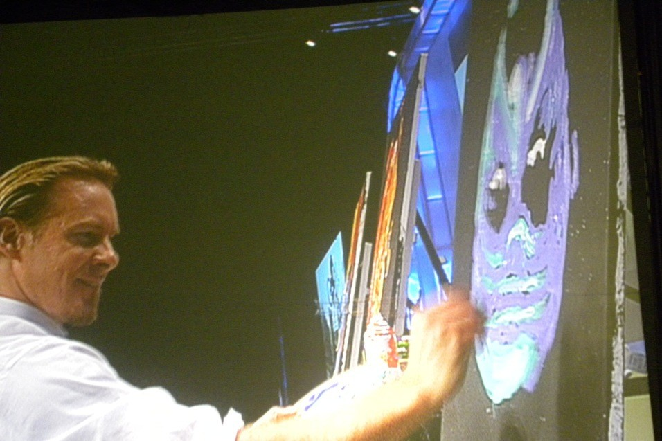 Artist Erik Wahl at work during his AORN presentation