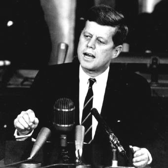 John F. Kennedy delivers speech