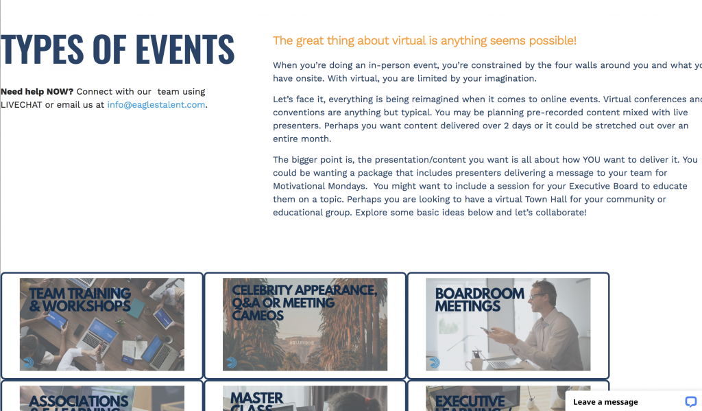 Types of Events virtual page