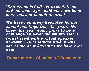 Amelia Rose Earhart testimonial